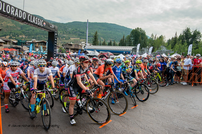 The Women line up for Stage 1 Vail Colorado, 2018 Colorado Classic cycling race (Photo by Dave Richards, daverphoto.com)