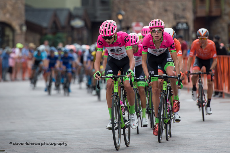 Team EF Education First-Drapac drilling it at the front thru the streeets of Vail Village. Men's Stage 1 Vail Colorado, 2018 Colorado Classic cycling race (Photo by Dave Richards, daverphoto.com)