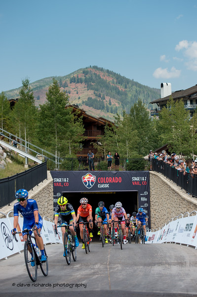 Out of the tunnel come the riders on Women's Stage 1 Vail Colorado, 2018 Colorado Classic cycling race (Photo by Dave Richards, daverphoto.com)