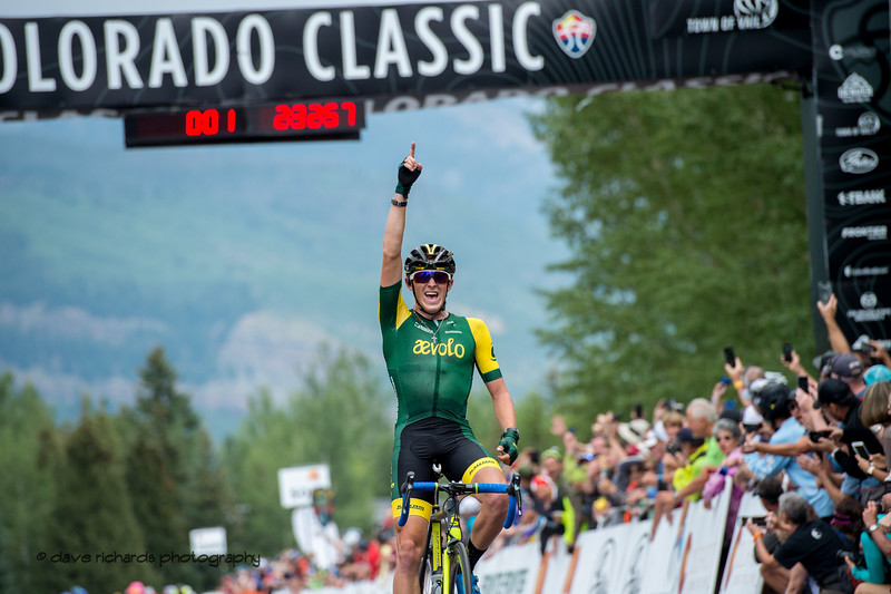 Gage Hect (aevolo) celebrates a solo victory on Men's Stage 1 Vail Colorado, 2018 Colorado Classic cycling race (Photo by Dave Richards, daverphoto.com)
