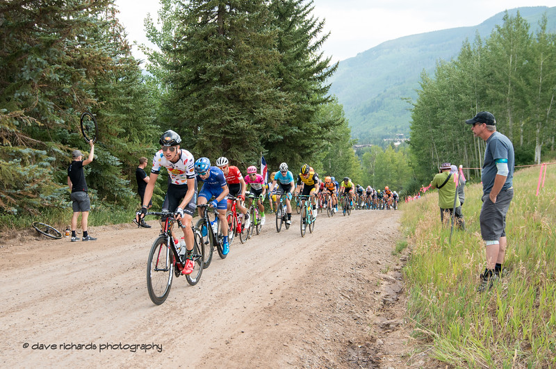 Riders attack the opening climb on Men's Stage 1 Vail Colorado, 2018 Colorado Classic cycling race (Photo by Dave Richards, daverphoto.com)