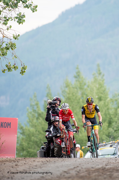 Early two man breakaway hits the KOM at the top of the climb. Men's Stage 1 Vail Colorado, 2018 Colorado Classic cycling race (Photo by Dave Richards, daverphoto.com)