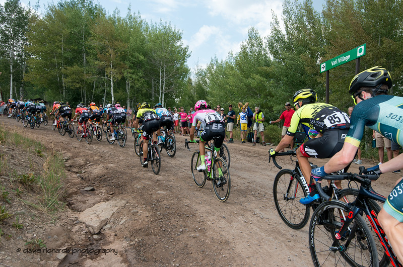 Dirt & gravel make the climb demanding on Men's Stage 1 Vail Colorado, 2018 Colorado Classic cycling race (Photo by Dave Richards, daverphoto.com)