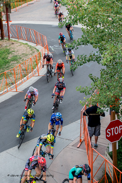Rider form a serpentine line thru the streets of Vail Village. Women's Stage 1 Vail Colorado, 2018 Colorado Classic cycling race (Photo by Dave Richards, daverphoto.com)