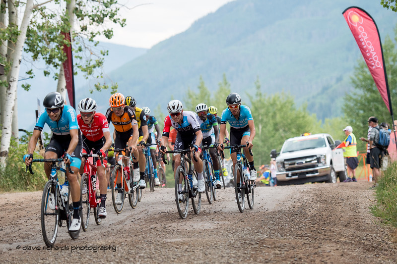 Chase group crests the gravel/dirt climb. Men's Stage 1 Vail Colorado, 2018 Colorado Classic cycling race (Photo by Dave Richards, daverphoto.com)