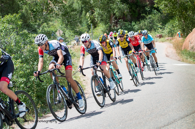 Tight formation, riding hard. Men's Stage 3 road course starting in Denver running out west up Lookout Mtn, then Red Rocks with a loop back to Denver. 2018 Colorado Classic cycling race (Photo by Dave Richards, daverphoto.com)