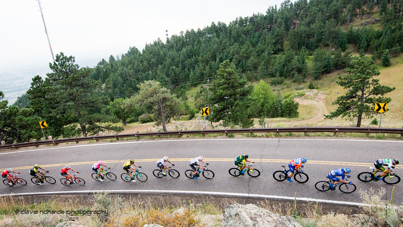 Chasers on the Lookout Mtn. climb. Men's Stage 3 road course starting in Denver running out west up Lookout Mtn, then Red Rocks with a loop back to Denver. 2018 Colorado Classic cycling race (Photo by Dave Richards, daverphoto.com)