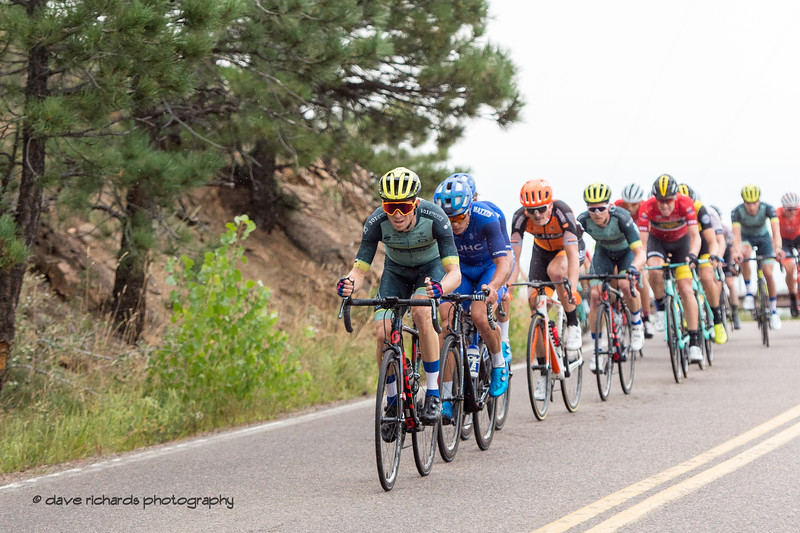 Peloton working hard to chase down the breakaway. Men's Stage 3 road course starting in Denver running out west up Lookout Mtn, then Red Rocks with a loop back to Denver. 2018 Colorado Classic cycling race (Photo by Dave Richards, daverphoto.com)