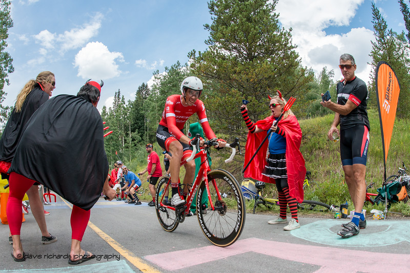 Trek-Segafredo rider escapes the grip of Satan and his minions. Men's Stage 2 Time Trial Vail Colorado, 2018 Colorado Classic cycling race (Photo by Dave Richards, daverphoto.com)