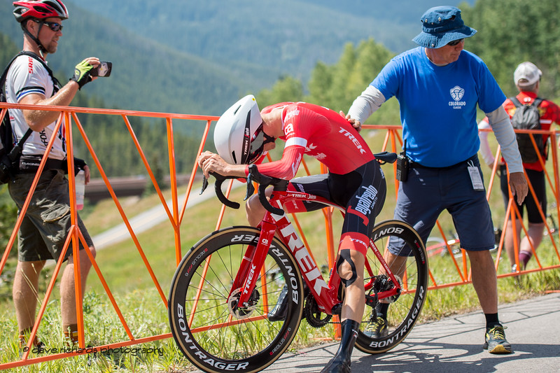 Peter Stetina (Trek-Segafredo) collapses at the finish having left it all on the course. Men's Stage 2 Time Trial Vail Colorado, 2018 Colorado Classic cycling race (Photo by Dave Richards, daverphoto.com)