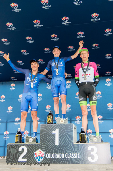 Stage 2 podium L-R:  Serghei Tvetcov (United Healthcare) , Gavin Mannion (United Healthcare), Hugh Carthy (TEAM EF -DRAPAC P/B CANNONDALE) Men's Stage 2 Time Trial Vail Colorado, 2018 Colorado Classic cycling race (Photo by Dave Richards, daverphoto.com)