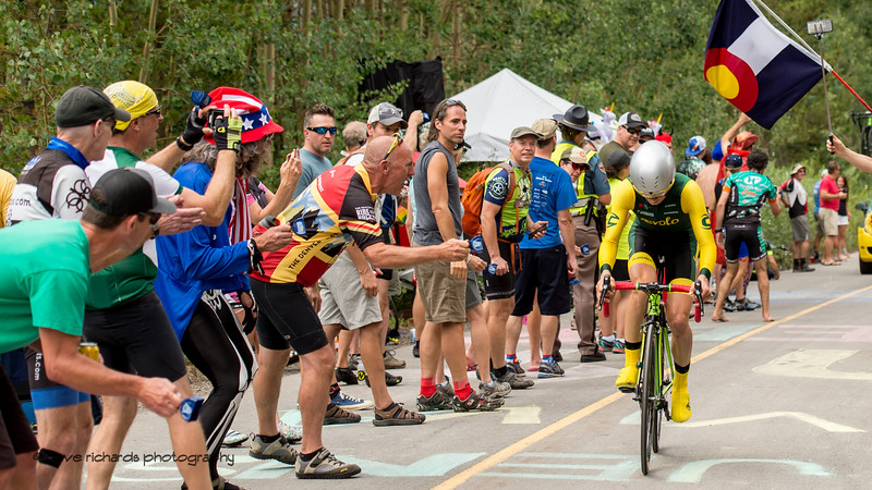 Rabid fans cheer on the riders. Men's Stage 2 Time Trial Vail Colorado, 2018 Colorado Classic cycling race (Photo by Dave Richards, daverphoto.com)