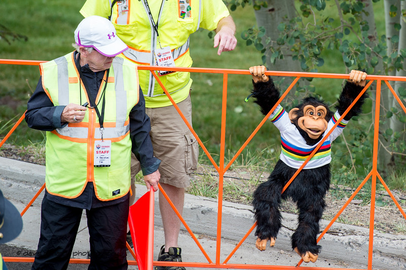 Monkey fan. Women's Stage 2 Time Trial Vail Colorado, 2018 Colorado Classic cycling race (Photo by Dave Richards, daverphoto.com)