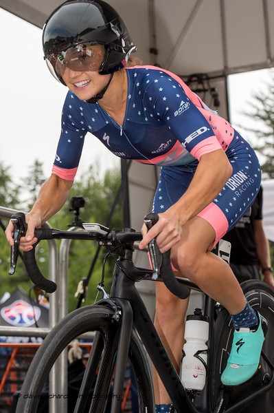 Carlyn Jackson (Orion Racing) heads down the start ramp to begin the stage 2 time trial. Women's Stage 2 Time Trial Vail Colorado, 2018 Colorado Classic cycling race (Photo by Dave Richards, daverphoto.com)