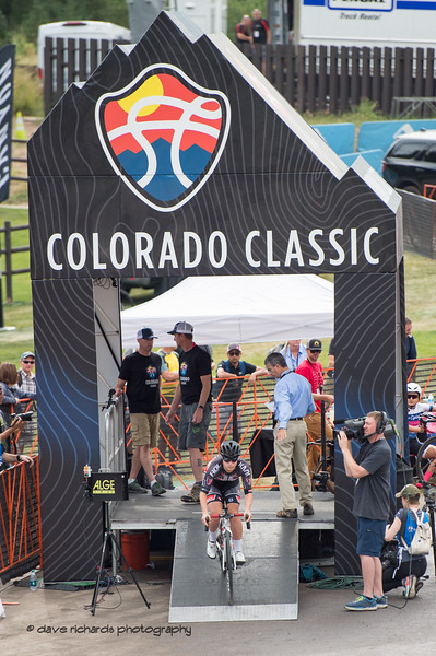 Rider exits the start house for the stage 2 time trial. Women's Stage 2 Time Trial Vail Colorado, 2018 Colorado Classic cycling race (Photo by Dave Richards, daverphoto.com)