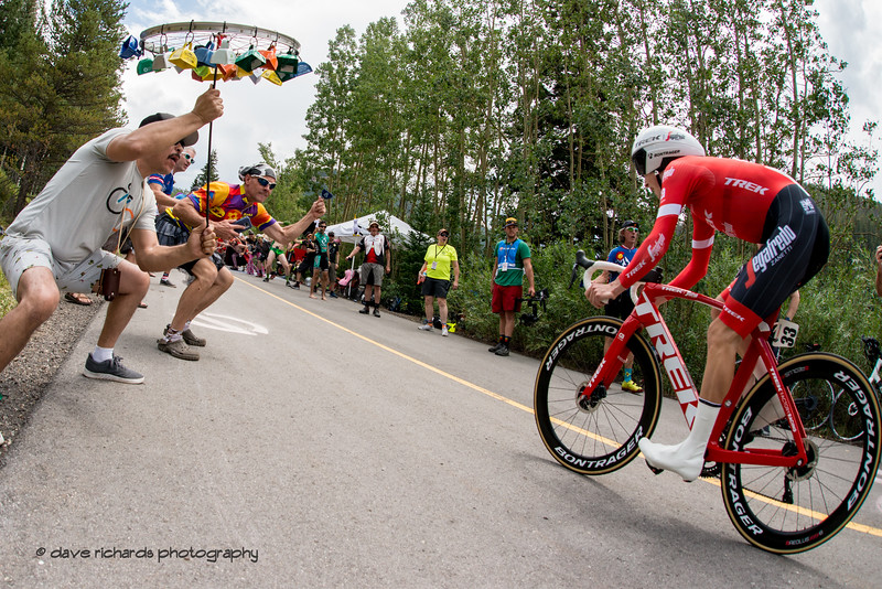 Crazy fans greet  Gregory Daniel (Trek-Segafredo) Men's Stage 2 Time Trial Vail Colorado, 2018 Colorado Classic cycling race (Photo by Dave Richards, daverphoto.com)