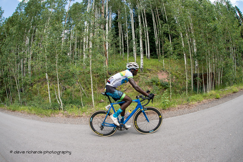 Nsengimana of Team Rwanda pushes up the climb on Men's Stage 2 Time Trial Vail Colorado, 2018 Colorado Classic cycling race (Photo by Dave Richards, daverphoto.com)