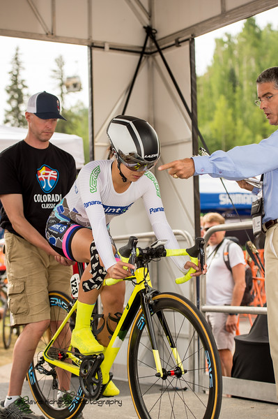 Countdown for Melanie Wong (Point S Auto p/b Nokian Tires) Women's Stage 2 Time Trial Vail Colorado, 2018 Colorado Classic cycling race (Photo by Dave Richards, daverphoto.com)