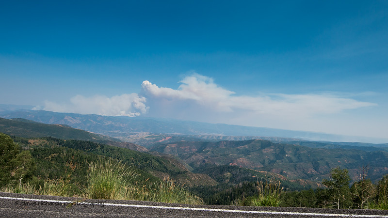 Forest fire plumes of smoke off in the distance were the order of the day making breathing difficult for the riders. Stage 2, 2018 LHM Tour of Utah cycling race (Photo by Dave Richards, daverphoto.com)