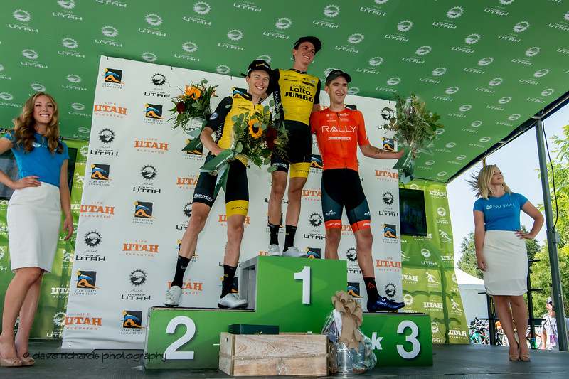 Stage 2 podium L-R  Neilson Powless & Sepp Kuss s ( both of Team Lotto NL_Jumbo) Kyle Murphy (Rally Cycling) , 2018 LHM Tour of Utah cycling race (Photo by Dave Richards, daverphoto.com)