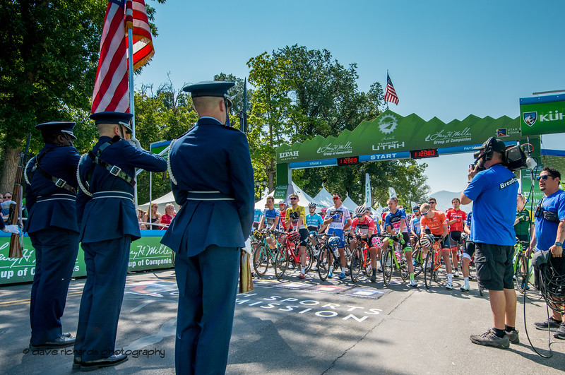 Color guard presents the flag to the riders as the national anthem is sung at the start of Stage 2, 2018 LHM Tour of Utah cycling race (Photo by Dave Richards, daverphoto.com)