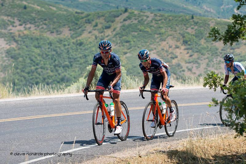 Nippo-Vini Fantini riders pace themselves up Mount Nebo. Stage 2, 2018 LHM Tour of Utah cycling race (Photo by Dave Richards, daverphoto.com)