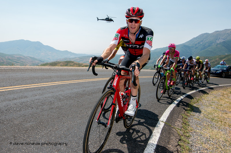 Looks like the helicopter is diving into  Brent Bookwalter's (BMC Racing Team) ear on the  climb up Mount Nebo. Stage 2, 2018 LHM Tour of Utah cycling race (Photo by Dave Richards, daverphoto.com)