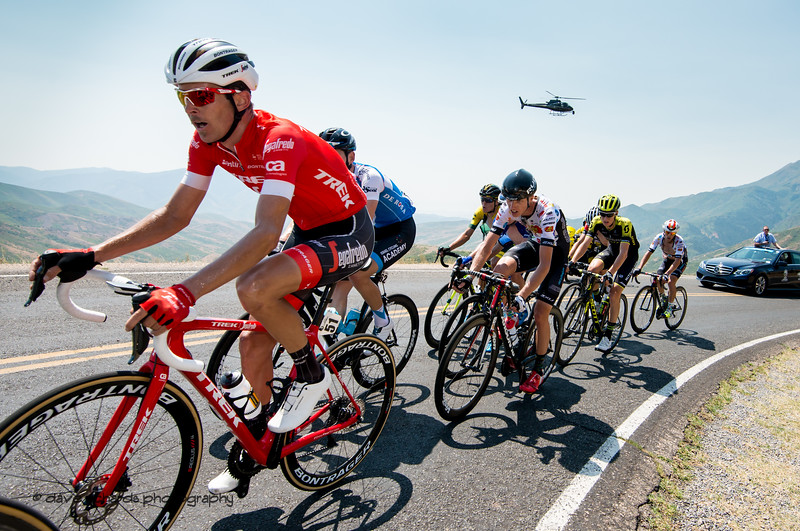 Riders deep in the pain cave on the steep slopes of Mount Nebo. Stage 2, 2018 LHM Tour of Utah cycling race (Photo by Dave Richards, daverphoto.com)