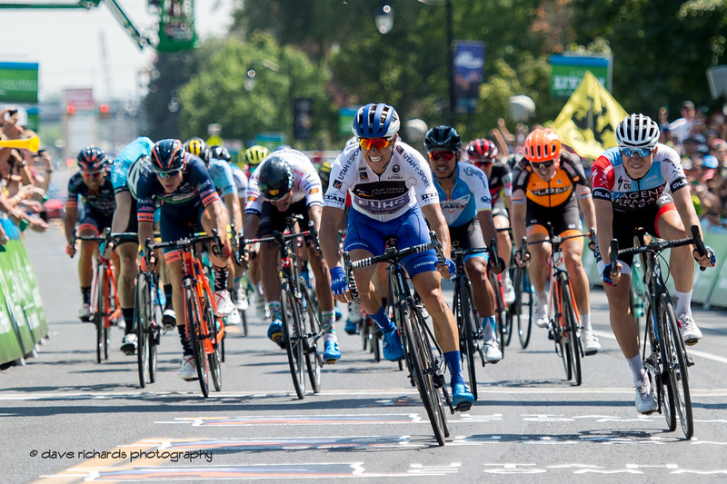 Travis McCabe (United Healthcare) takes the win on a fiercely fought sprint finish Stage 3 Antelope Island to Layton, 2018 LHM Tour of Utah cycling race (Photo by Dave Richards, daverphoto.com)