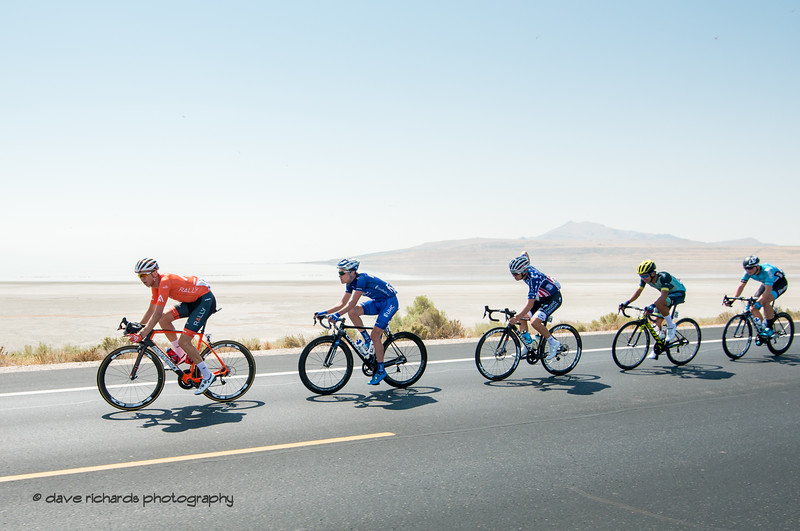 Small group of riders rolling down the causeway as they leave Antelope Island. Stage 3 Antelope Island to Layton, 2018 LHM Tour of Utah cycling race (Photo by Dave Richards, daverphoto.com)