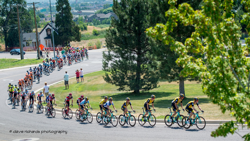 The pack strings out on a short uphill climb. Stage 3 Antelope Island to Layton, 2018 LHM Tour of Utah cycling race (Photo by Dave Richards, daverphoto.com)