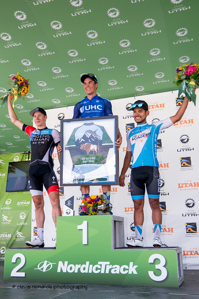 Stage 3 podium L-R:   Jasper Philipsen (Hagens Berman Axeon)  Travis McCabe (United Healthcare) Edward Avila (Jelly Belly p/b Maxxis). Stage 3 Antelope Island to Layton, 2018 LHM Tour of Utah cycling race (Photo by Dave Richards, daverphoto.com)