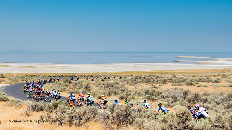 Big sweeping curve in the road. Stage 3 Antelope Island to Layton, 2018 LHM Tour of Utah cycling race (Photo by Dave Richards, daverphoto.com)