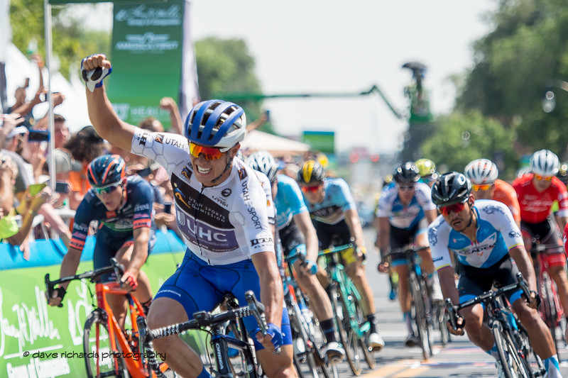 Travis McCabe (United Healthcare) celebrates his Stage 3 win. Stage 3 Antelope Island to Layton, 2018 LHM Tour of Utah cycling race (Photo by Dave Richards, daverphoto.com)