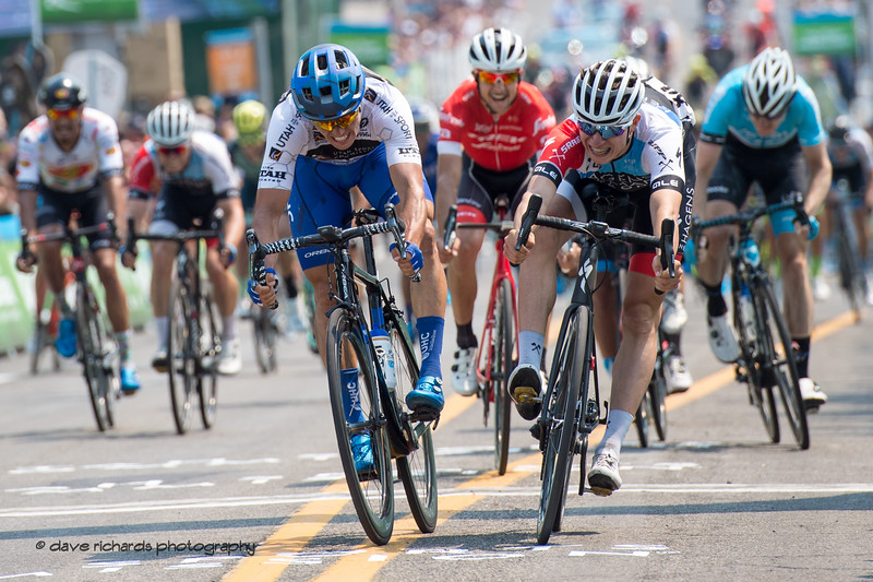 Philipsen (Hagens Berman Axeon) wins the sprint by a tire wiidth to take Stage 4 Salt Lake City, 2018 LHM Tour of Utah cycling race (Photo by Dave Richards, daverphoto.com)