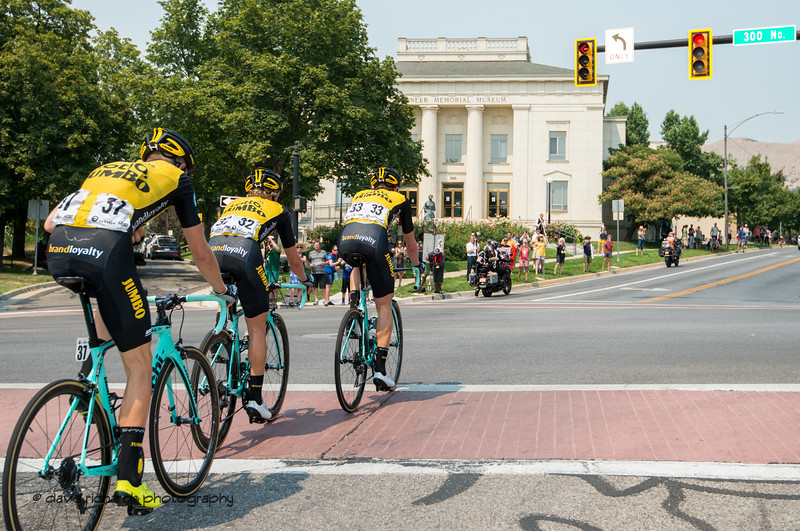 Team Lotto NL-Jumbo tops out on the Main Street climb. Stage 4 Salt Lake City, 2018 LHM Tour of Utah cycling race (Photo by Dave Richards, daverphoto.com)