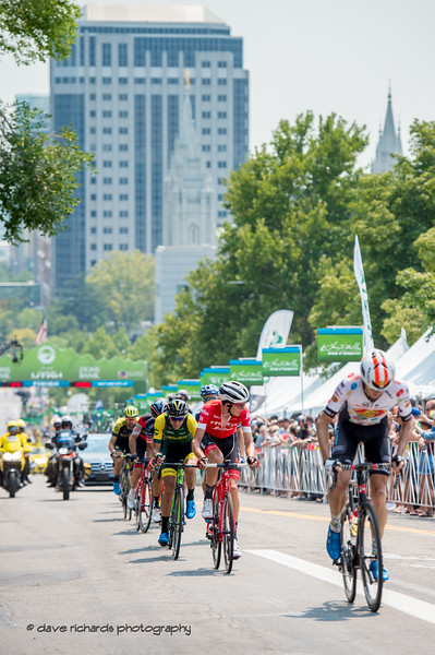 Riders on the climb up Main Street, Stage 4 Salt Lake City, 2018 LHM Tour of Utah cycling race (Photo by Dave Richards, daverphoto.com)