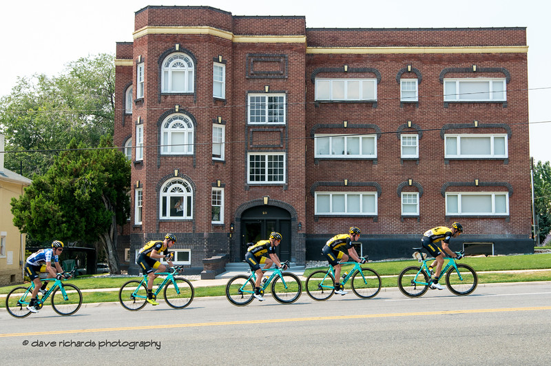 Modern carbon and lycra meets historic brick and mortar. Stage 4 Salt Lake City, 2018 LHM Tour of Utah cycling race (Photo by Dave Richards, daverphoto.com)