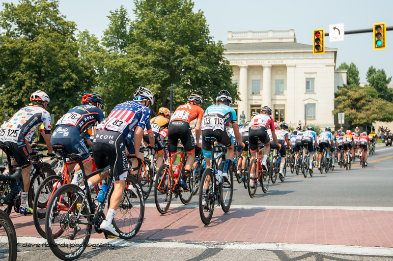 The peloton rolls by the Pioneer Memorial Museum at the top of Main Street during Stage 4 Salt Lake City, 2018 LHM Tour of Utah cycling race (Photo by Dave Richards, daverphoto.com)