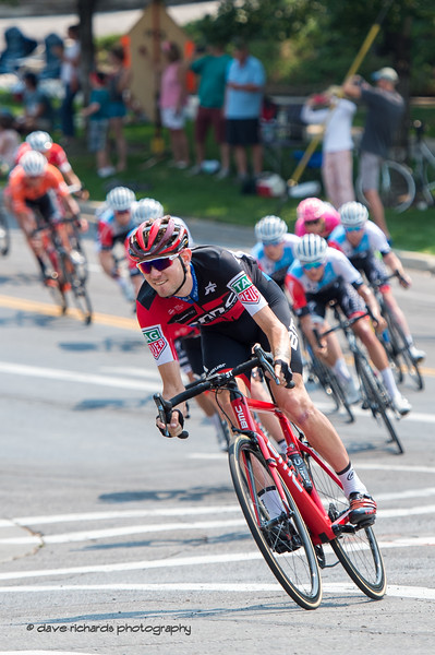 BMC Racing rider leads a group thru a fast descent around Reservior Park. Stage 4 Salt Lake City, 2018 LHM Tour of Utah cycling race (Photo by Dave Richards, daverphoto.com)