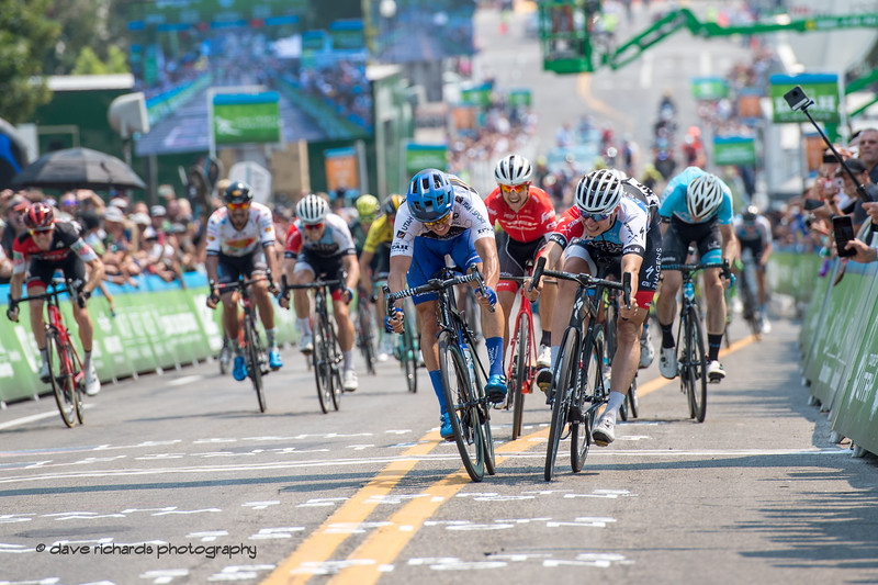 McCabe (UHC) and Philipsen (Hagens Berman Axeon) battle it out in a tightly contested sprint finish. Stage 4 Salt Lake City, 2018 LHM Tour of Utah cycling race (Photo by Dave Richards, daverphoto.com)