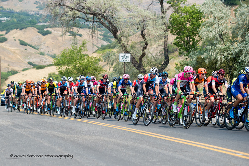 The pace picks up early during Stage 4 Salt Lake City, 2018 LHM Tour of Utah cycling race (Photo by Dave Richards, daverphoto.com)