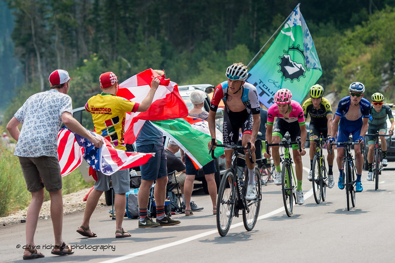 Safety in numbers as a small grupetto rides up the final climb on Stage 5 Queen Stage - Canyons ski resort to Snowbird ski resort, 2018 LHM Tour of Utah cycling race (Photo by Dave Richards, daverphoto.com)
