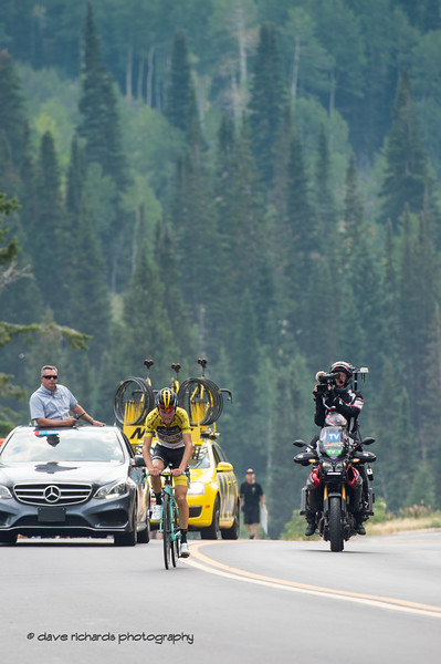 Sepp Kuss (Lotto NL-Jumbo) on a solo attack over the final kilometers of the Little Cottonwood Canyon climb to win Stage 5 and retain the leader's Yellow Jersey on the  Queen Stage - Canyons ski resort to Snowbird ski resort, 2018 LHM Tour of Utah cycling race (Photo by Dave Richards, daverphoto.com)