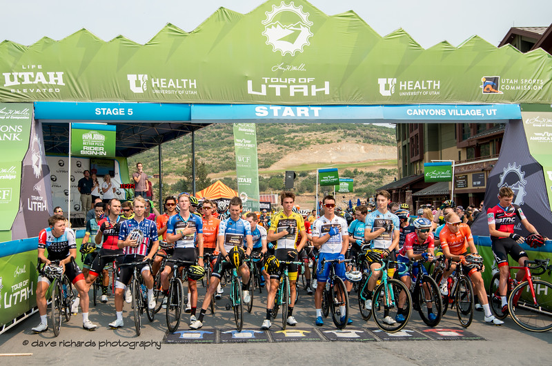 The Star Spanled Banner is sung at the start of Stage 5 Queen Stage - Canyons ski resort to Snowbird ski resort, 2018 LHM Tour of Utah cycling race (Photo by Dave Richards, daverphoto.com)