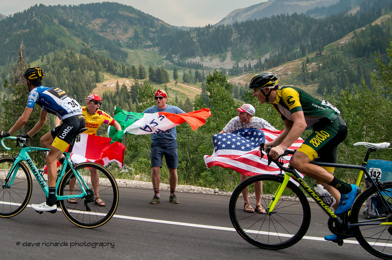 Multi-national greetings from the fans on the climb to Snowbird Ski Resort. Stage 5 Queen Stage - Canyons ski resort to Snowbird ski resort, 2018 LHM Tour of Utah cycling race (Photo by Dave Richards, daverphoto.com)