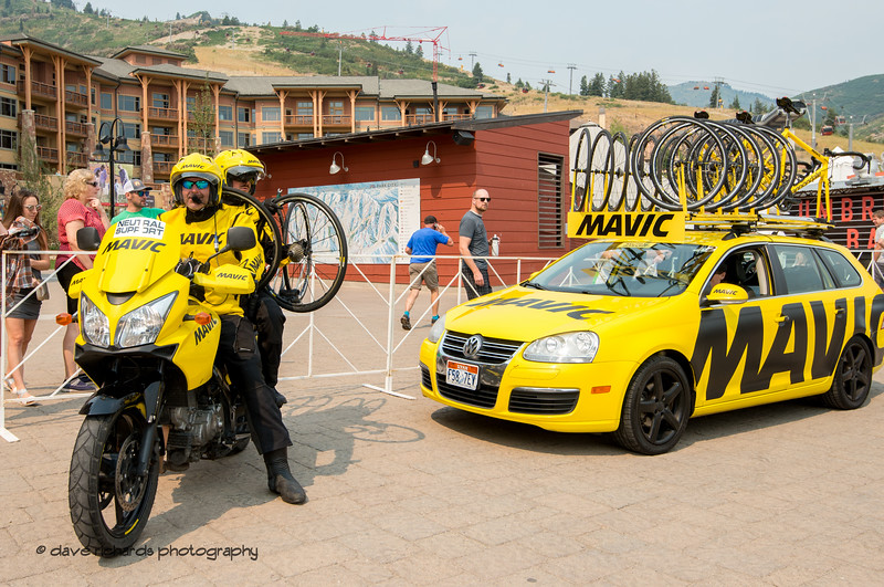The dedicated team of Mavic neutral support awaits the start of Stage 5 Queen Stage - Canyons ski resort to Snowbird ski resort, 2018 LHM Tour of Utah cycling race (Photo by Dave Richards, daverphoto.com)