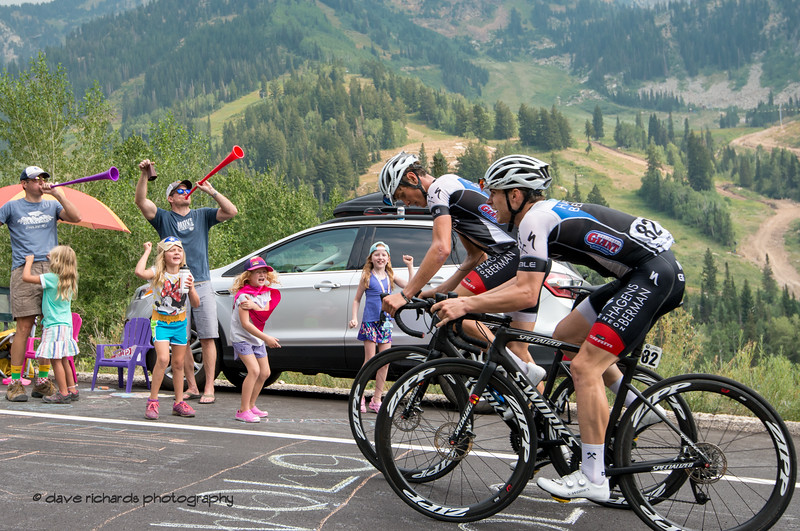 Fans  greet the riders with shouts of encouragement. Stage 5 Queen Stage - Canyons ski resort to Snowbird ski resort, 2018 LHM Tour of Utah cycling race (Photo by Dave Richards, daverphoto.com)