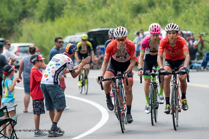 Fans encourage while the riders focus on the task at hand. Stage 5 Queen Stage - Canyons ski resort to Snowbird ski resort, 2018 LHM Tour of Utah cycling race (Photo by Dave Richards, daverphoto.com)