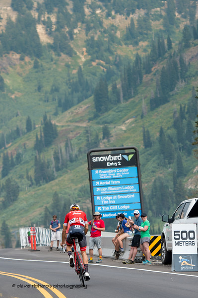 Only 500 meters to go. Stage 5 Queen Stage - Canyons ski resort to Snowbird ski resort, 2018 LHM Tour of Utah cycling race (Photo by Dave Richards, daverphoto.com)